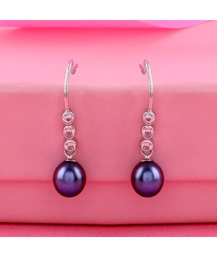White Cz stones,Deep Ash color Pearls Earrings